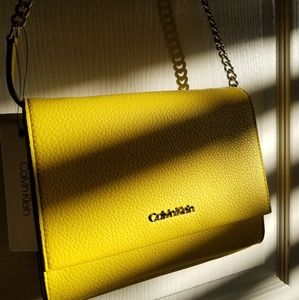 CALVIN KLEIN Yellow Convertible Purse/Clutch